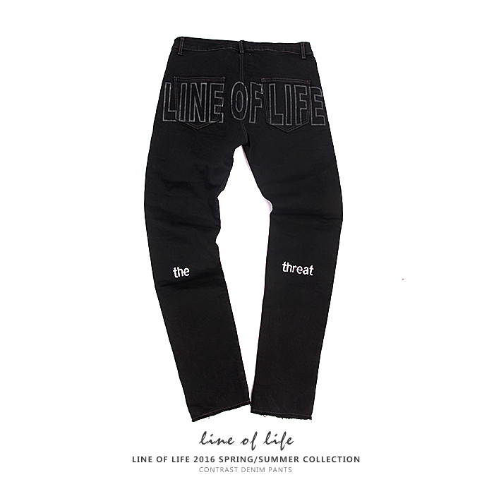 Line of life thin letter printed pants national trend straight jeans D1
