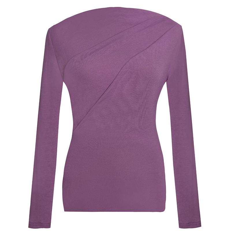 不规则个性小心机斜领长袖T恤女2020早秋新款女装上衣打底衫百搭