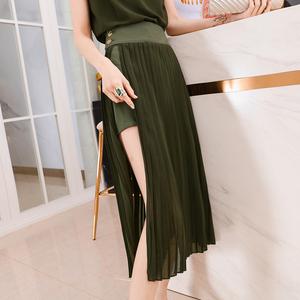 韩衣女王夏季百褶假两件开叉露腿短裙裤女2020新款气质高腰半身裙