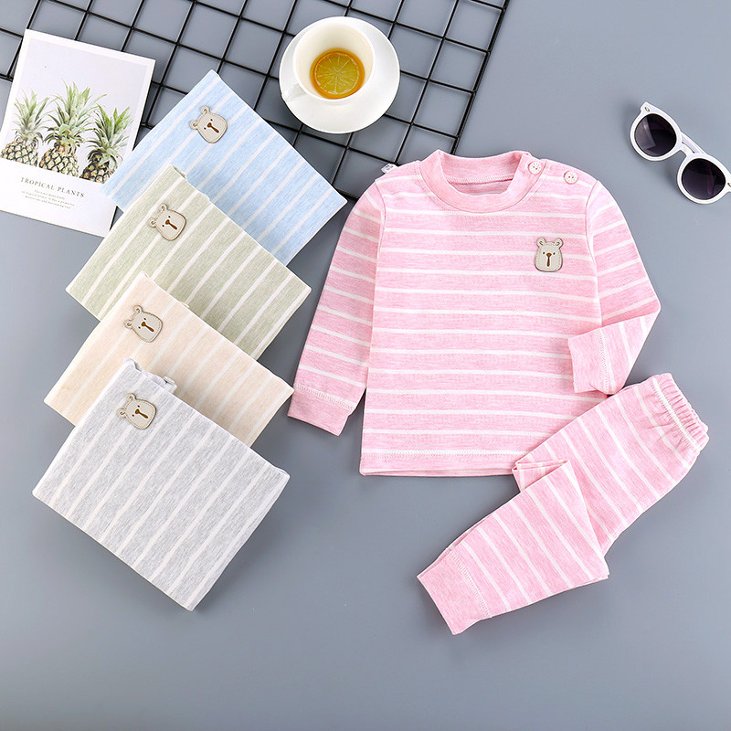 Girls and boys autumn clothes and trousers set pure cotton baby inner wear 2 childrens underwear pure cotton 3 1.5 years old 4 4 5