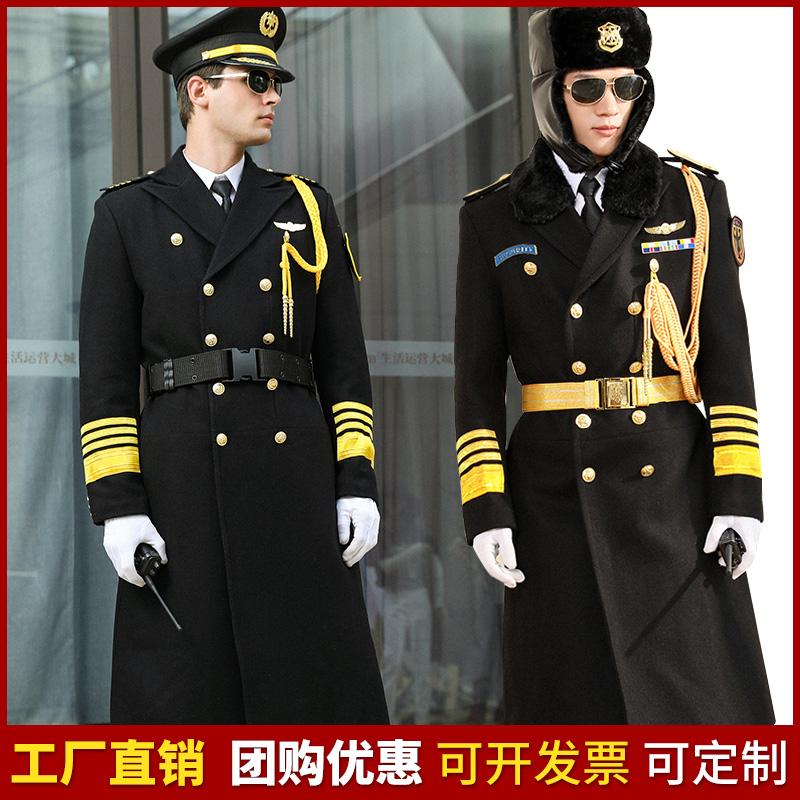 保安大衣物业礼宾服装长款保暖加厚形象岗保安制服羊毛呢大衣外套图片