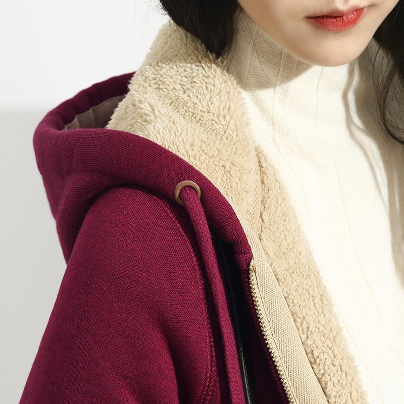 加厚加绒卫衣女秋冬2020新款羊羔绒运动套装两件连帽开衫冬季外套