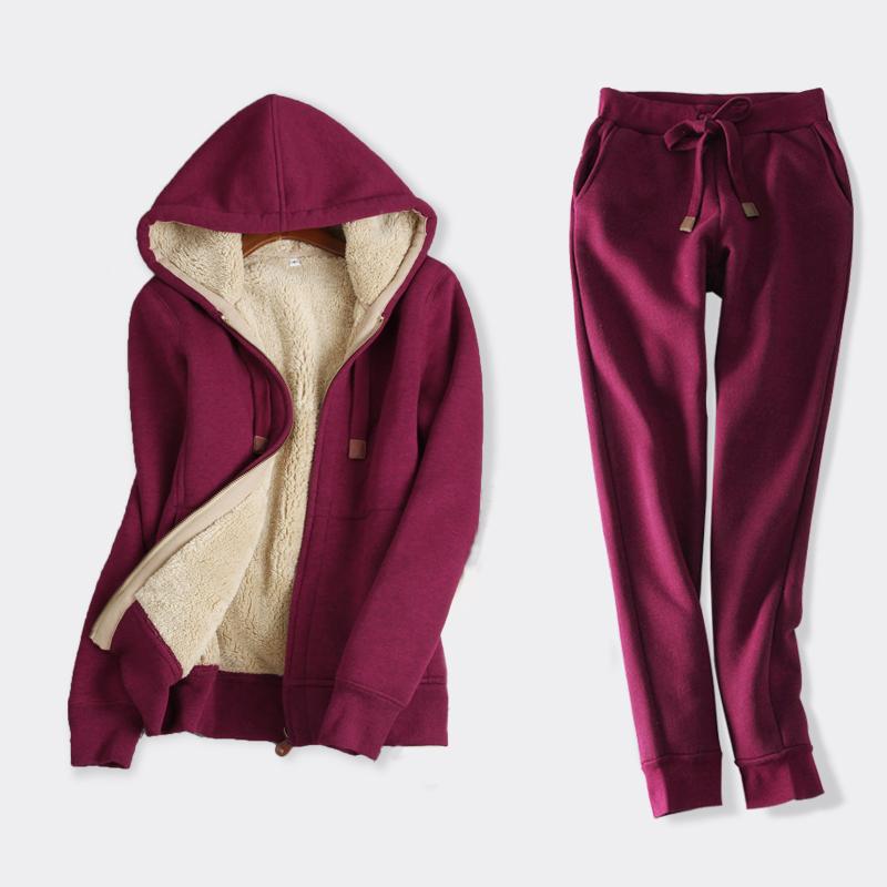 休闲连帽加绒运动套装女宽松2020新款秋冬季羊羔毛加厚卫衣两件套