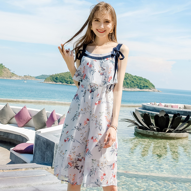 New summer products fresh and sweet printed floral one piece Chiffon cool suspender Capris