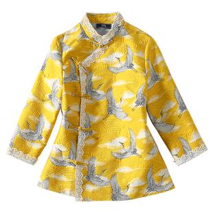中國風年輕日常旗袍短款上衣外套女黃色仙鶴蕾絲邊七分袖漢服中式