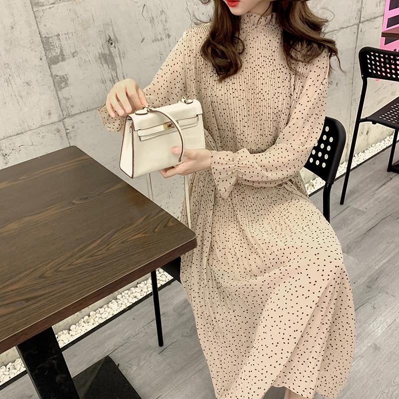 Retro Polka Dot Long Sleeve Chiffon Dress large medium length base skirt loose pleated skirt autumn new long skirt