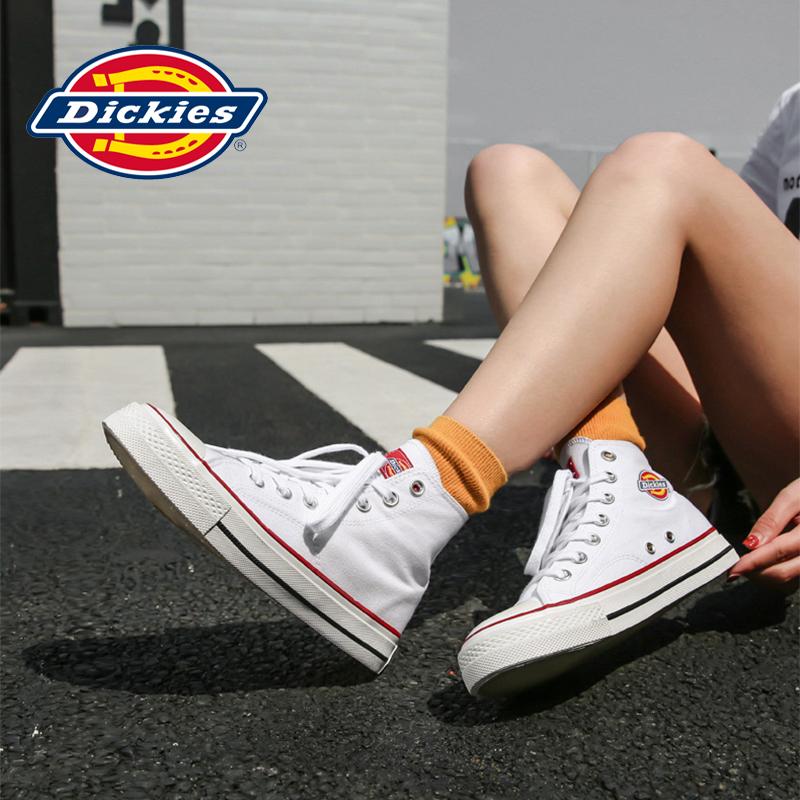 Dickies女鞋2020春季新款帆布鞋白色高幫板鞋子韓版百搭小白鞋潮