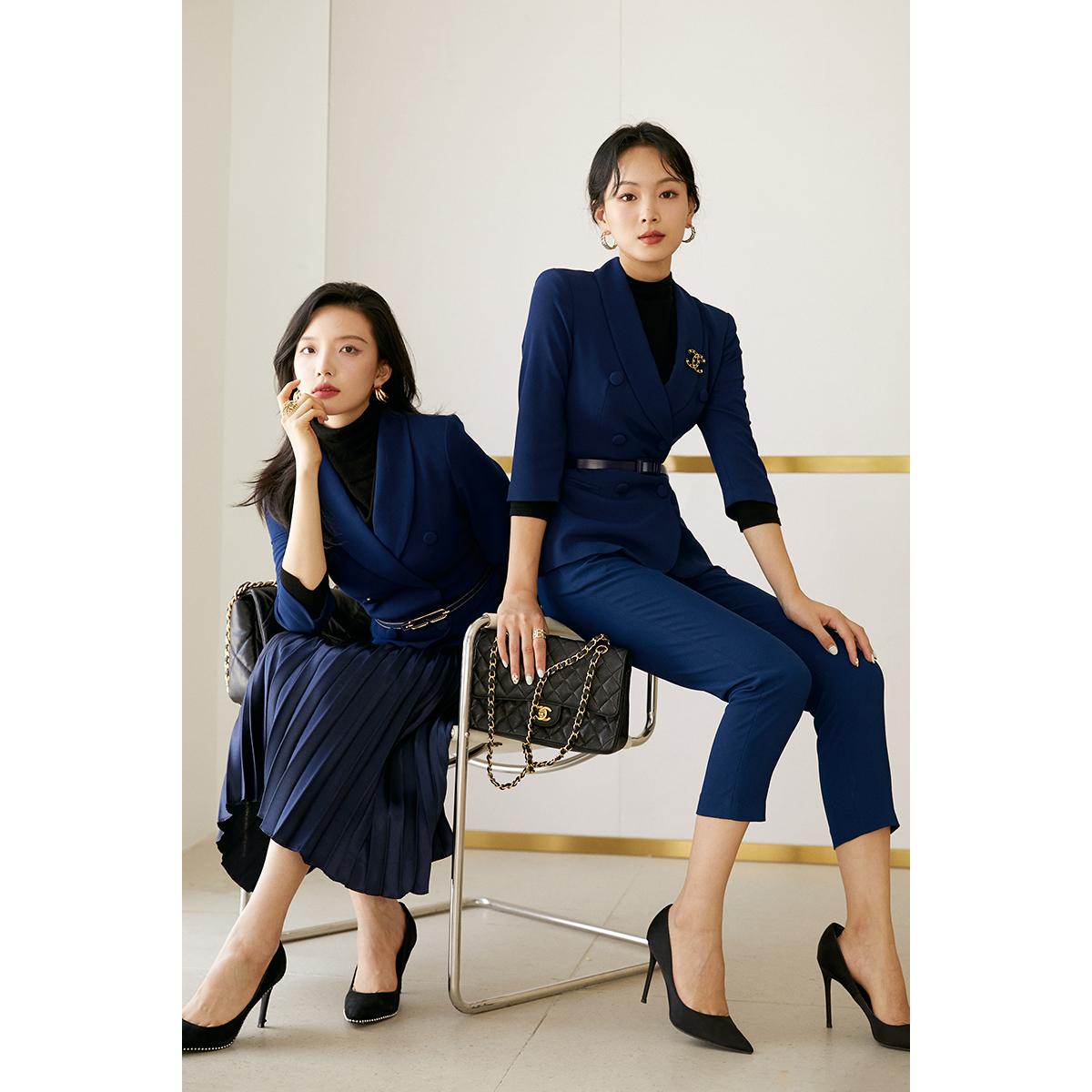 女子成鉴藏青色长袖短款西服套裤职业装套装两件套小西装外套女秋