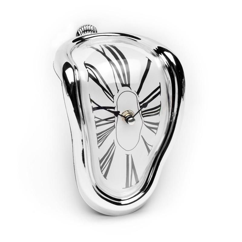 溶化时的挂钟 创意时钟异形电子钟表 复古罗马扭曲变形 书架装饰