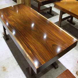 奥坎大板实木原木茶桌茶几茶板茶台书桌餐桌老板办公桌椅桌面整装
