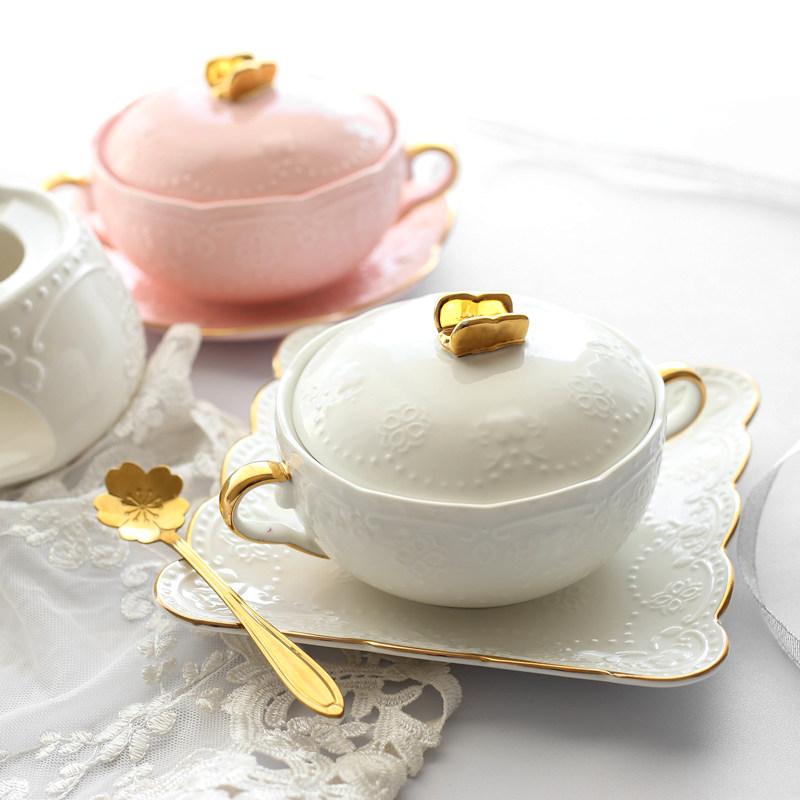 燕窝碗甜品欧式宫廷复古金边双耳碗