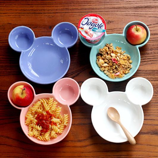 米奇造型的陶瓷分格盤陶瓷餐盤 家用烘培烤盤水果盤子 創意餐具