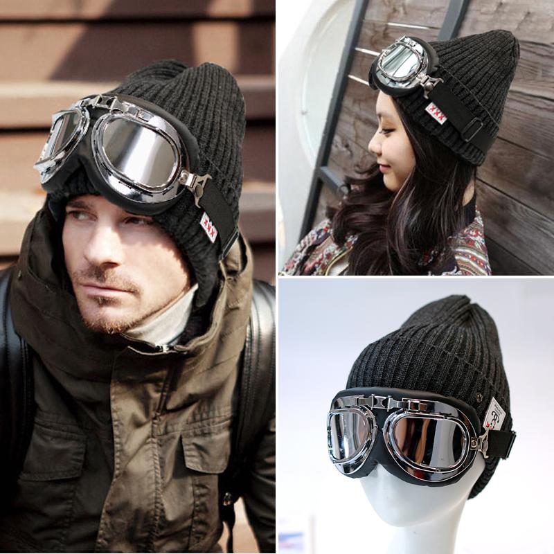 潮牌韩版飞行员帽子女秋冬季带哈雷眼镜的毛线帽男针织嘻哈滑雪帽