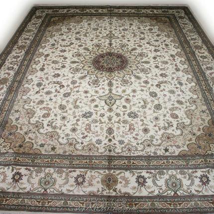 毯译品牌真丝地毯 出口伊朗土耳其大尺寸别墅客厅地毯275x364厘米