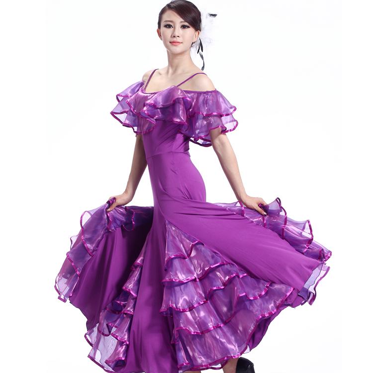 国标舞裙双肩吊带荷叶领大摆连衣裙摩登舞裙交谊舞
