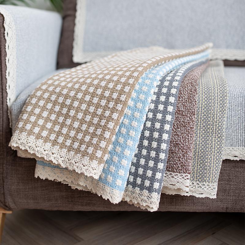 亚麻粗麻布沙发垫四季通用北欧简约沙发套罩扶手巾靠背沙发巾全盖