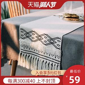 餐桌桌旗北欧现代简约桌布长条巾轻奢高档茶几桌巾布艺床旗日式