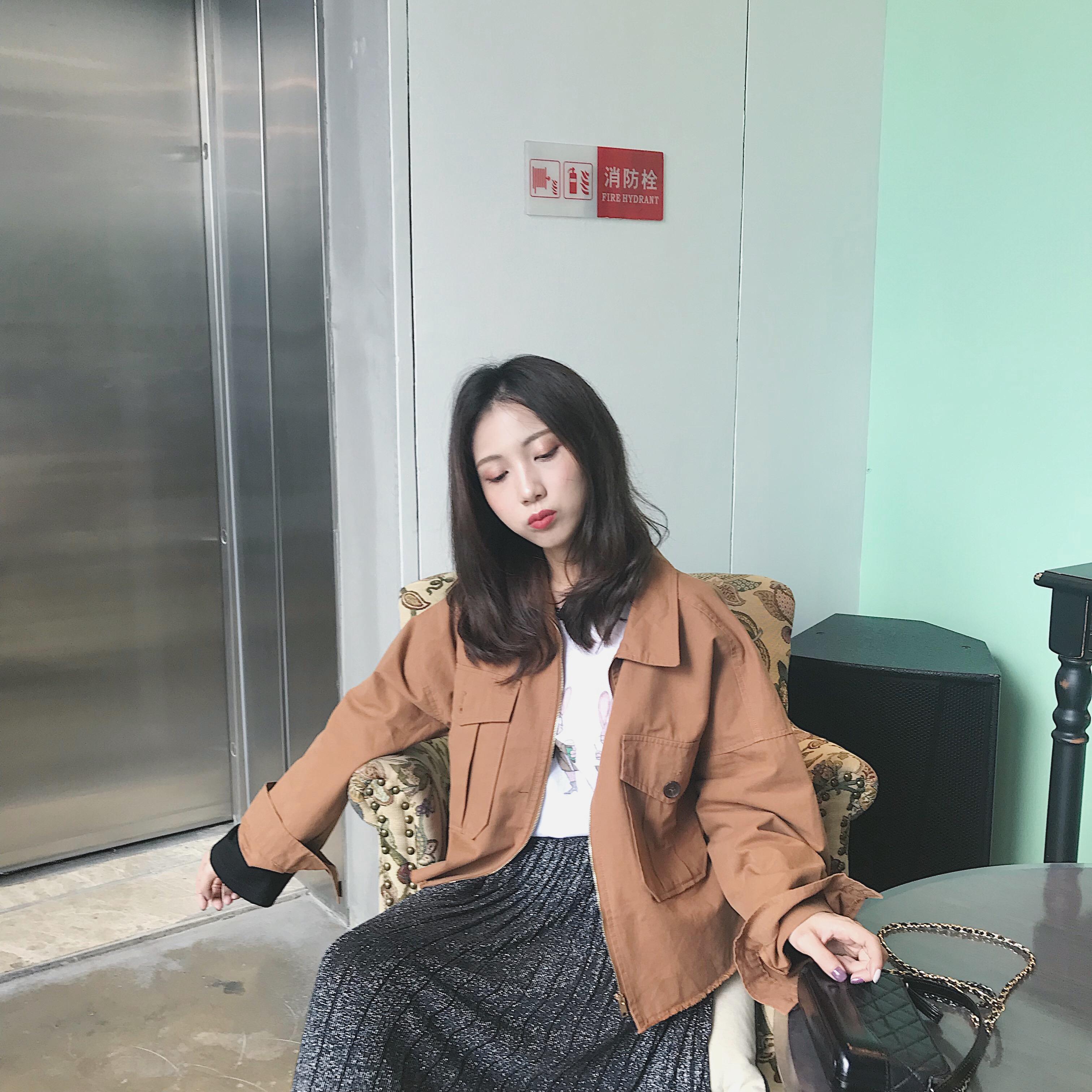 MINI XIN 2018秋季新款韩版ulzzang潮港味复古宽松毛边工装短外套