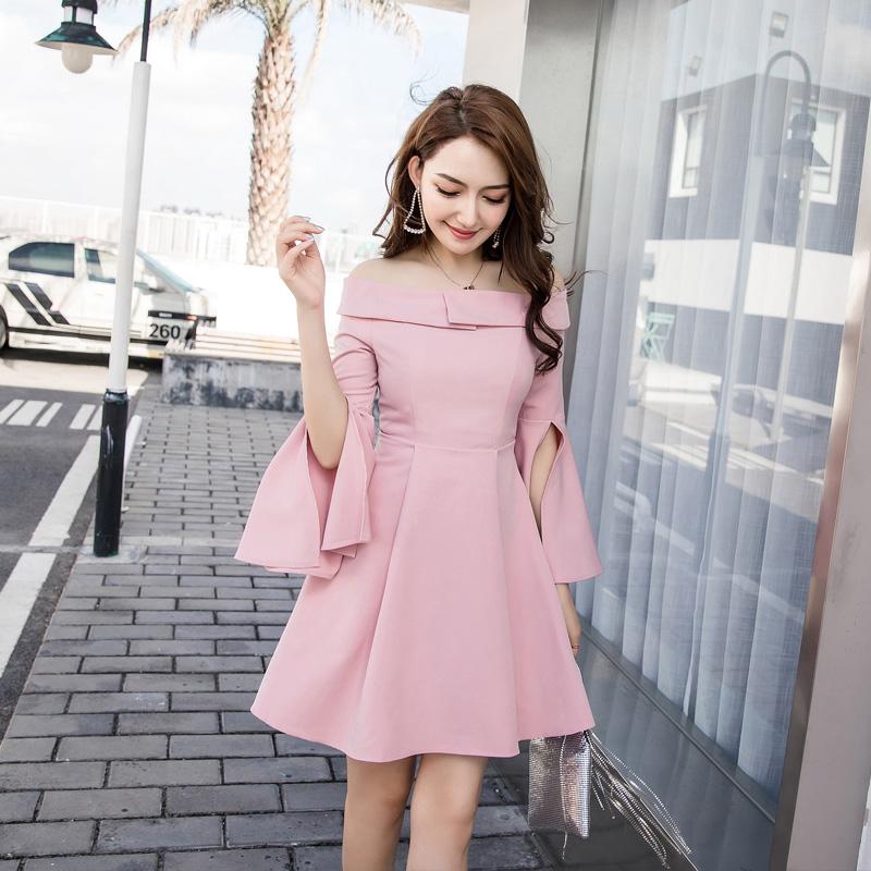 2019秋冬長袖開叉袖口氣質名媛粉色打底氣質法式連衣裙