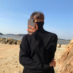 韩国多色高领毛衣纯色套头针织衫长袖韩版秋冬打底线衣男士宽松潮