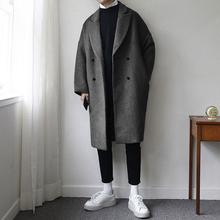 帅气呢子大衣潮 韩国中长款 宽松加厚毛呢外套休闲纯色个性 碧舍男装