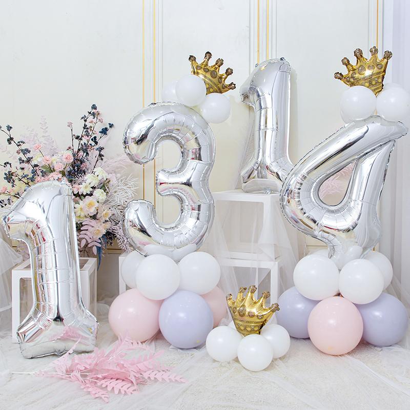 大号超大银色铝膜数字气球儿童生日快乐派对装饰宝宝周岁场景布置