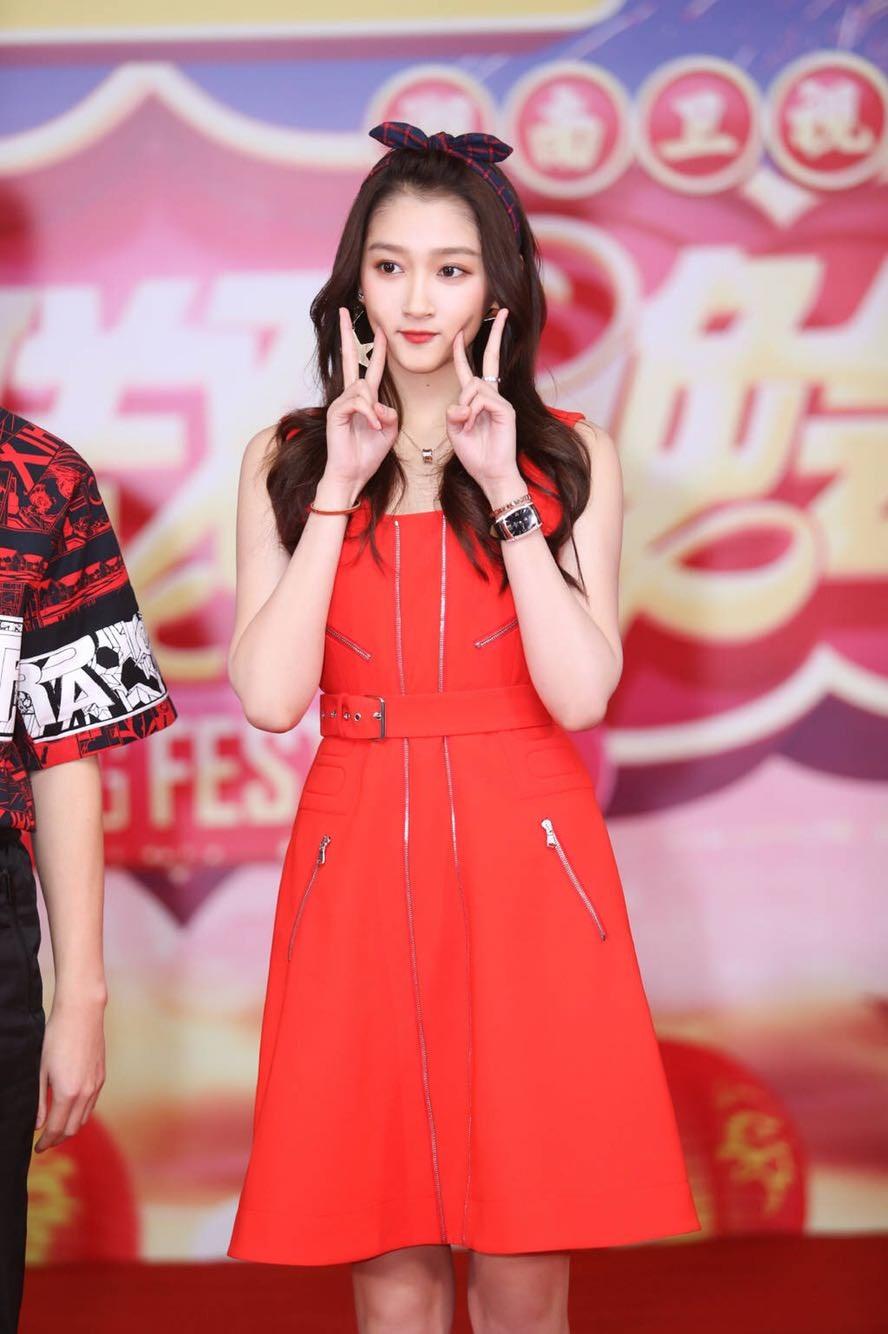 欧洲新款20118春晚关晓彤同款红色无袖拉链设计收腰连衣裙女