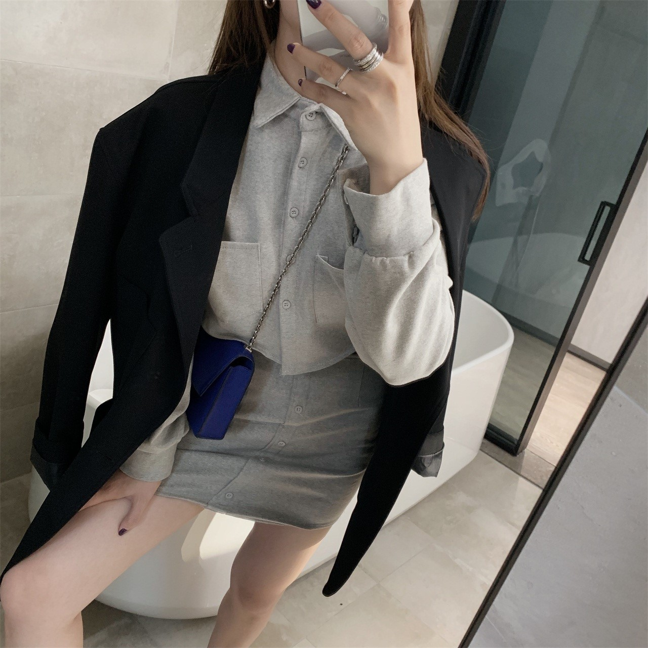 2019秋冬新款 美式运动风灰色上下两件套装时髦少女短款卫衣/裙裤