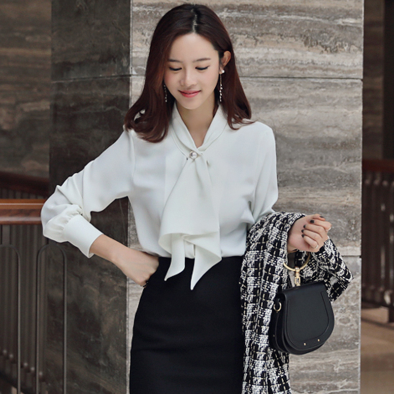 Only XL) 299 mingyuanfeng commuter professional womens shirt net red lotus leaf bow tie pearl white shirt