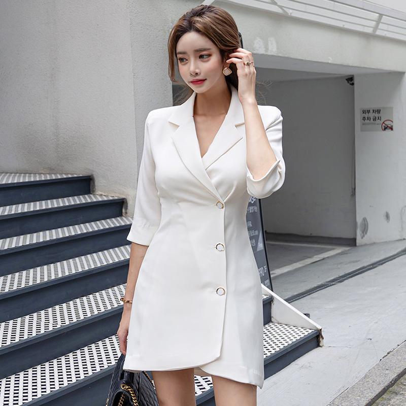 Only XL) 953 2021 Korean celebrity ol professional temperament waist slim irregular suit dress
