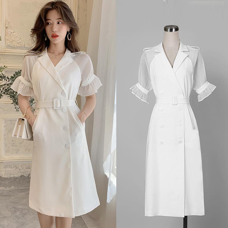 实拍 2019夏装白色收腰薄款风衣外套气质复古显瘦中长款连衣裙