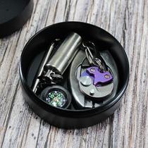 耳机收纳盒铝合金防水盒圆形密封防水盒EDC收纳盒可定制图案