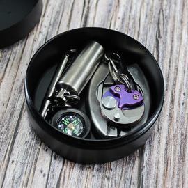 耳机收纳盒 铝合金防水盒 圆形密封防水盒 EDC收纳盒 可定制图案图片