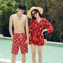 Lovers'swimsuit women's suit gather sexy bikini three-piece beach trousers men's holiday seaside swimsuit
