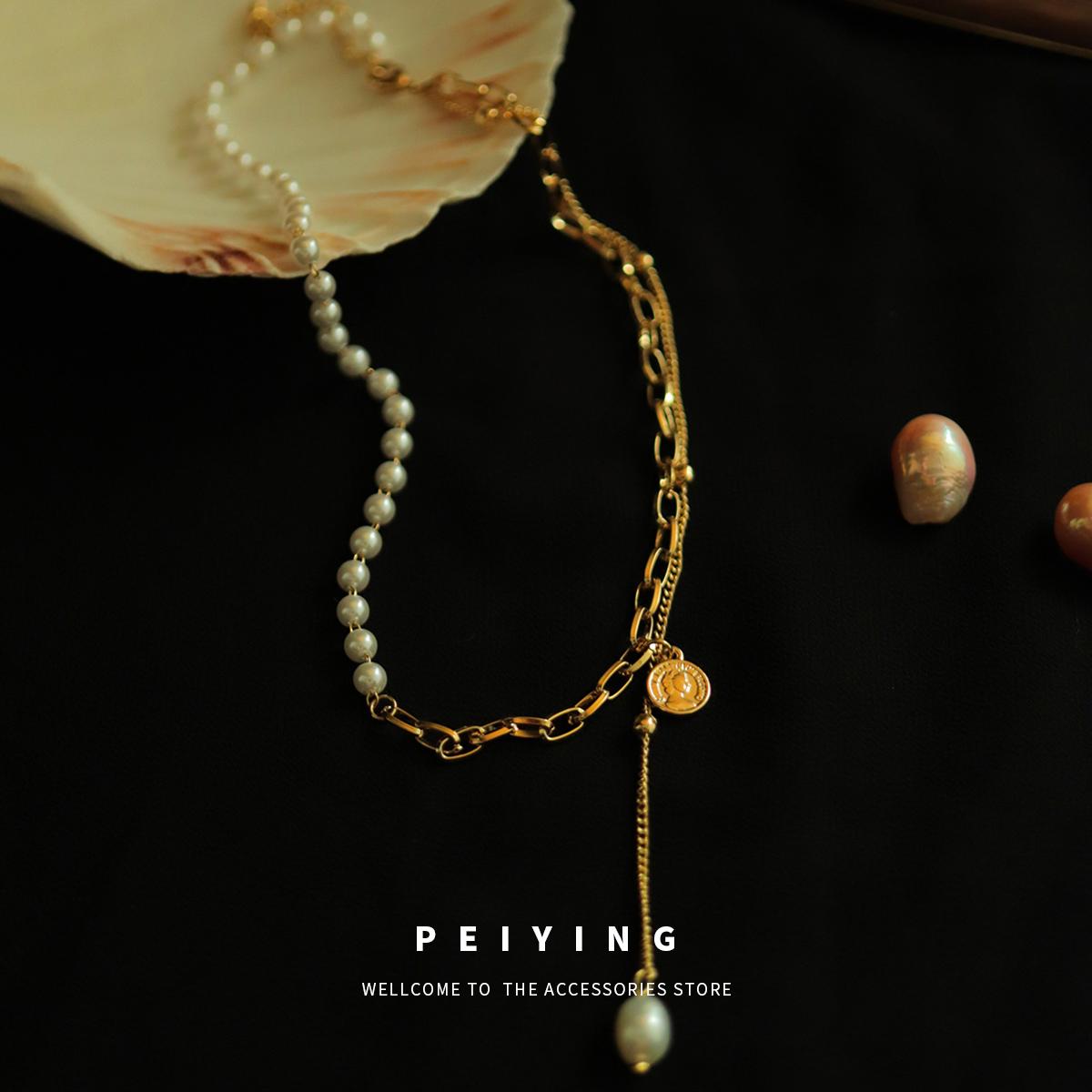 peiying项链饰品女潮ins简约时尚高级小众设计人像珍珠双层锁骨链