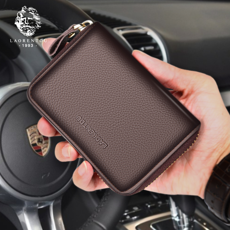 Laoren mens card bag multi functional leather wallet head layer leather simple large capacity zero wallet
