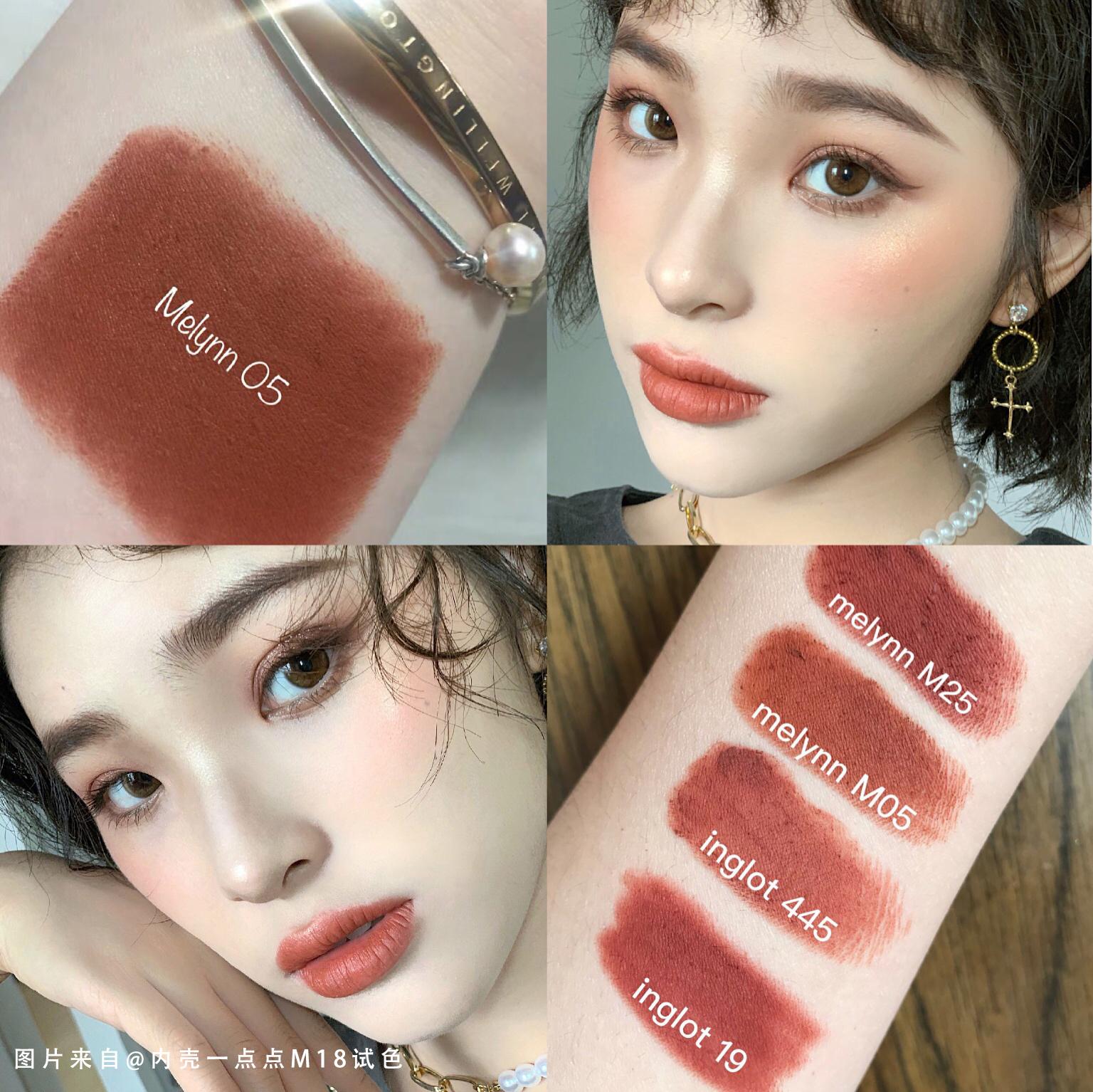 泰国小众品牌彩妆Melynn哑光雾面梅子色口红M05/M15持久不脱色