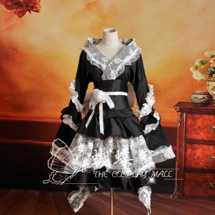 Butterfly house animation clothing kimono style lace Lolita dress black and white maid outfit cos ladies section