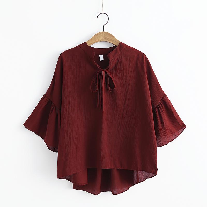 2017夏季新款女装森女系七分袖显瘦雪纺衫 纯色百搭喇叭袖上衣女
