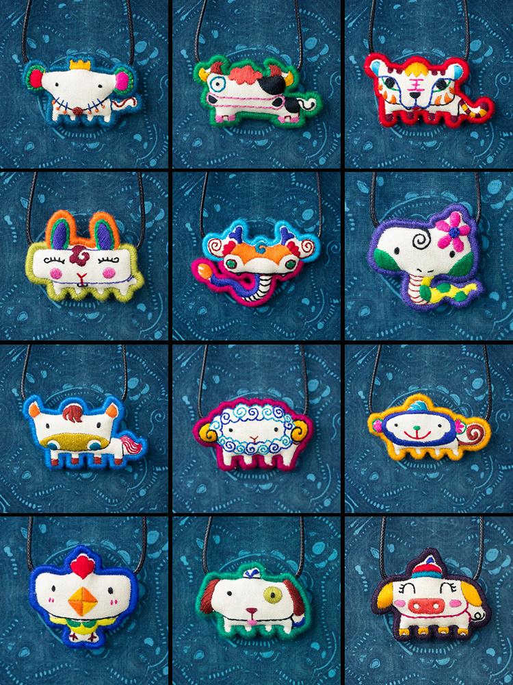 Twelve zodiac necklaces original design, hand embroidery, retro creative cotton and hemp accessories, national literature and art clavicle chain