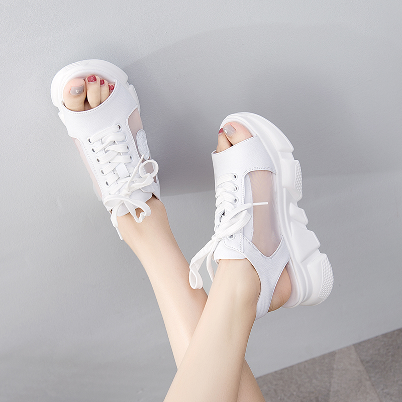 Gauze sandals fairy style new Korean version fresh and versatile fish mouth thick bottom muffin shoes leisure sports