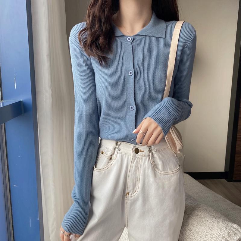 秋冬新款开衫Polo领长袖针织衫毛衣女宽松短款外套M8803P30