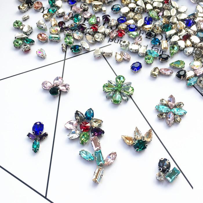 Стекло шить небольшой улов алмаз смешанный пакет верхний глаз падения эллипс круглый DIY горный хрусталь алмаз материал одежда аксессуары