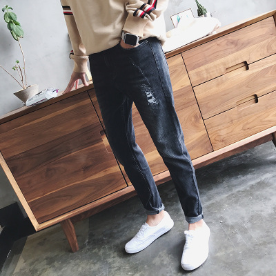 秋季潮流男装牛仔裤 男士韩版修身裤子破洞补丁弹力小脚裤N248P68