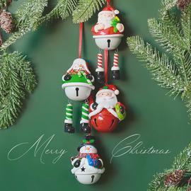 铃儿响叮当SwanLace软陶圣诞老人雪人麋鹿铁皮铃铛圣诞树挂件挂饰图片