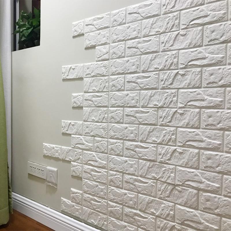 3d立體牆貼電視背景牆軟包卧室自粘牆紙溫馨泡沫磚紋壁紙防水貼紙
