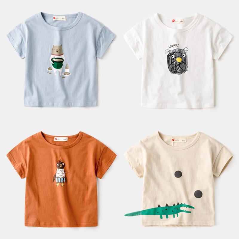 Мальчиков короткий рукав T футболки ребенок летний костюм куртка 2018 волна ребятишки 3 хлопок 4 ребенок с коротким рукавом девочки сочувствовать 5 лето