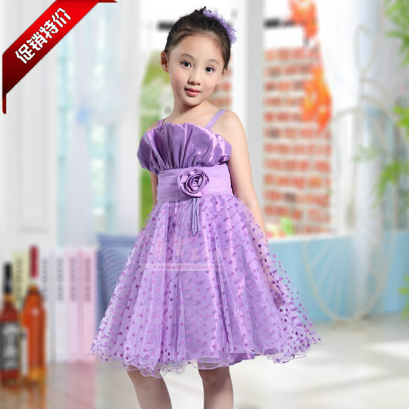 Korean children girls purple suspenders piano performances princess ...