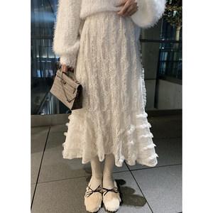 林珊珊蕾丝花边纱高腰显瘦风半身裙