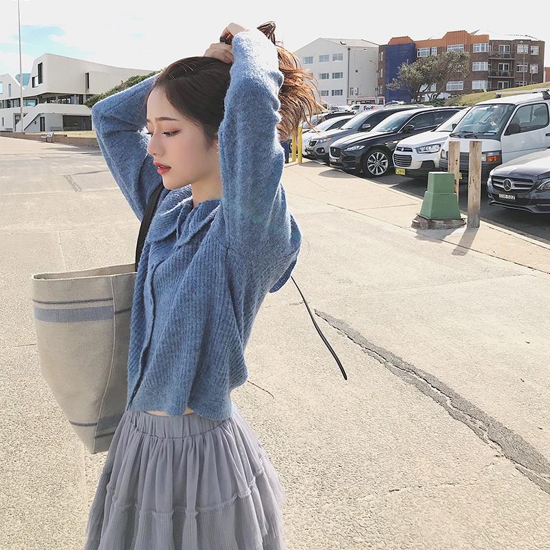 珊珊 清新荷叶边娃娃领系扣长袖针织开衫女2018秋季新款毛衣外套